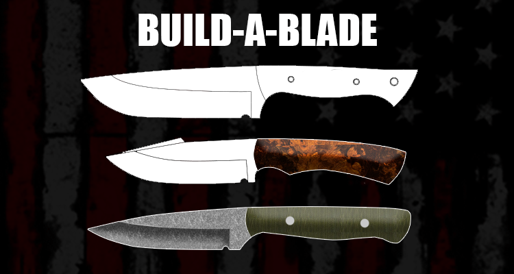 Build-A-Blade logo showing different types of custom knives